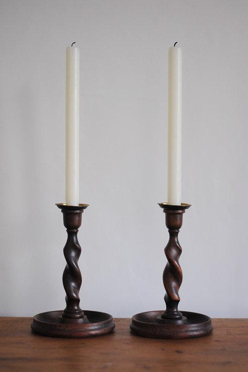 Vintage Wooden Barley Twist Candlesticks