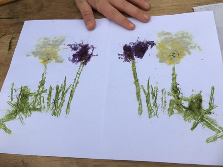 Activity of the day: Make pictures, cards and wrappings with leaf and flower hammer art