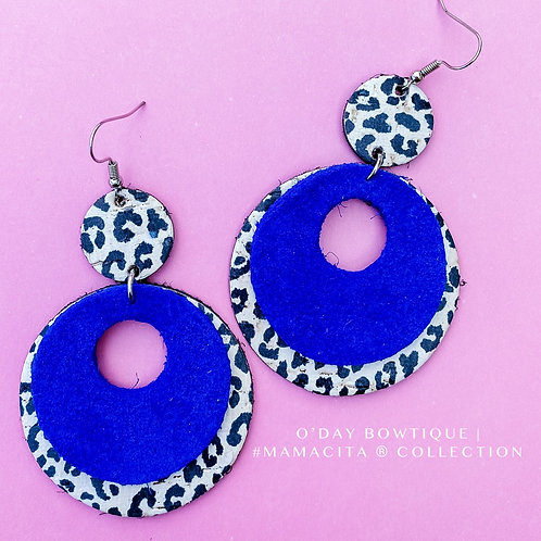 Leather Earrings: Baby Blues: By O'Day Bowtique