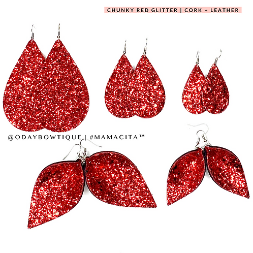Leather Earrings: Lustful Red 💋: 901: By O'Day Bowtique