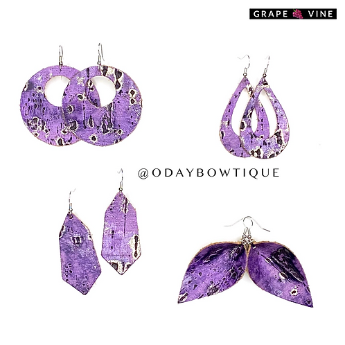 Leather Earring: Grape 🍇 Vine: By O'DAY BOWTIQUE