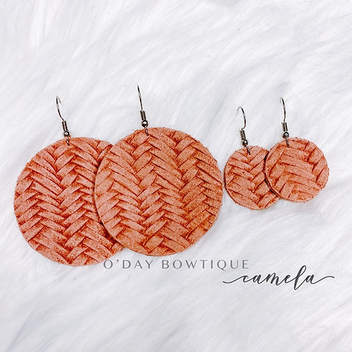 Leather Earrings: Evergreen: Camela: By O'Day Bowtique