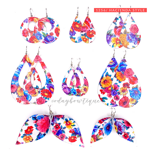 Leather Earrings: Hacienda 🌺Style: 1256: By O'Day BOWTIQUE