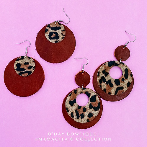 Leather Earrings: Jungle Woman: By O'Day Bowtique