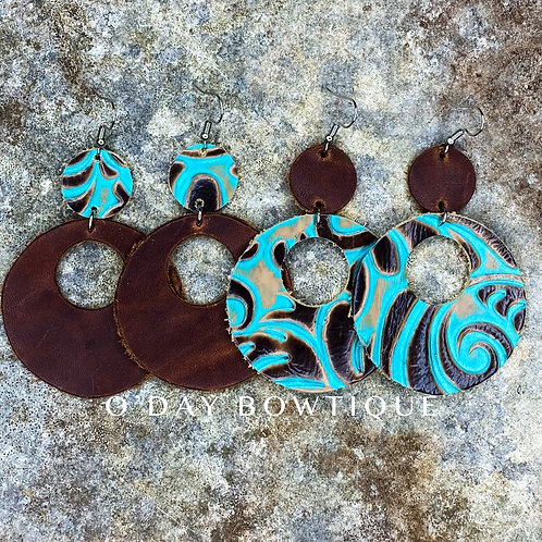Leather Earrings: She's Texan: 210 : By O'Day Bowtique