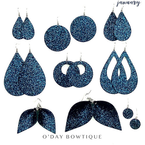 Leather Earrings: Winter Nights: January: By O'Day Bowtique