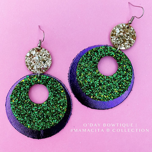 Leather Earrings: Party Time: Mardi Gras: By O'Day Bowtique