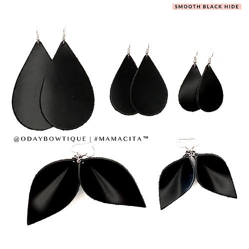 Leather Earrings: Black 🖤 Beauty: 771: By O'Day Bowtique