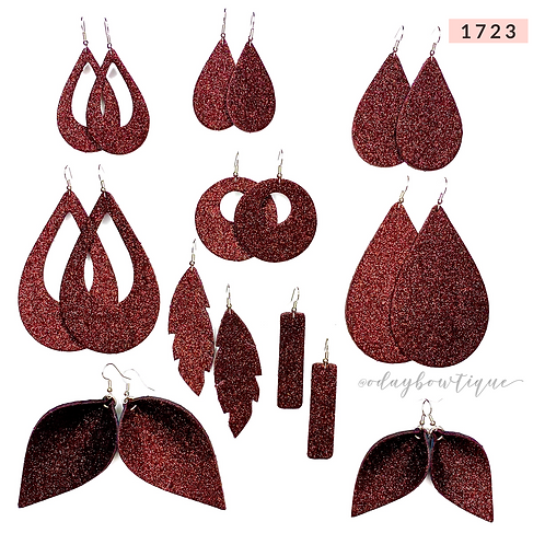 Leather Earrings: Madly Maroon ♥️: 1723: By O'Day Bowtique