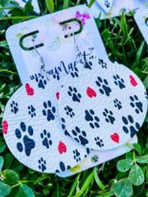 Leather Earrings: PAWfect Print : By O'Day Bowtique