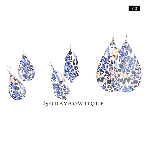 Leather Earring: Blue 💙🔥💙 Fiya: 70: By O'DAY BOWTIQUE
