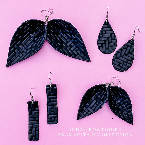 Leather Earrings: Midnight Glamour: By O'Day Bowtique