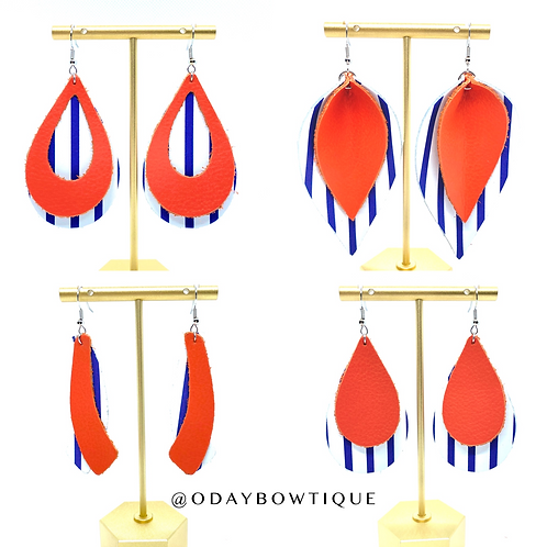 Leather Earrings: 🧡Landons Double 💙: By O'Day Bowtique