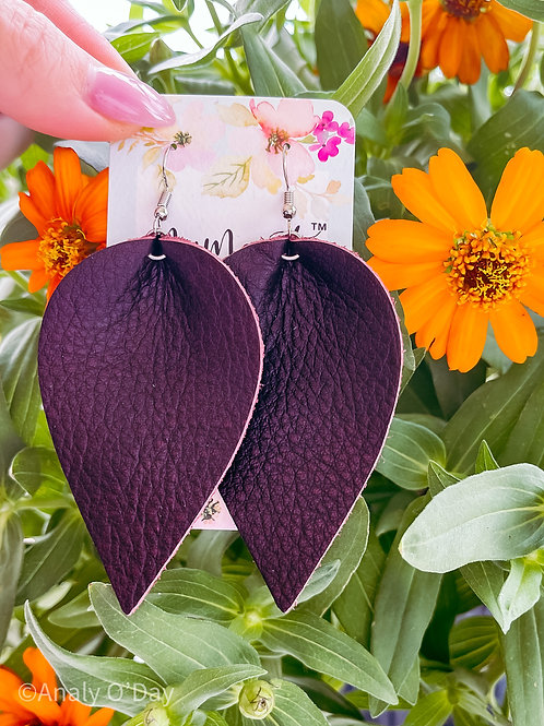 Leather Earrings: Kelly: By O'Day Bowtique