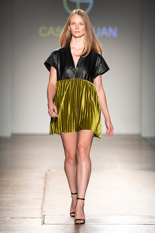 runway collection leather silk velvet short dress