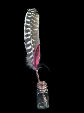 Smudging feather with glass bottle holder, smudging wand