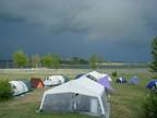 Kampferprobt. Unser Lager mit Küchenzelt hat schon vielen Stürmen standgehalten!