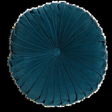 Teal velvet round pillow