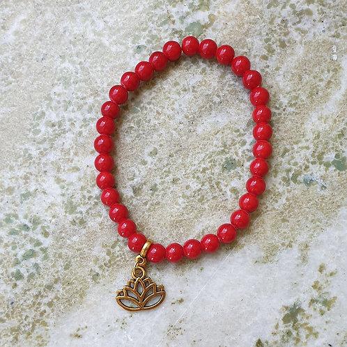 Armband - röd JADE