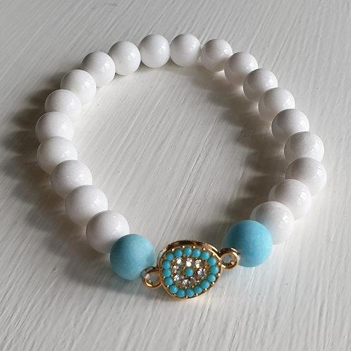 Armband - JADE vit/turkos