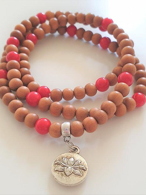 Mala armband - sandelträ & röd jade