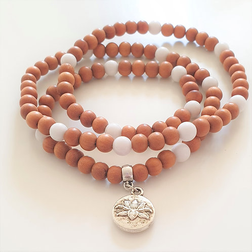 Mala armband - sandelträ & vit jade