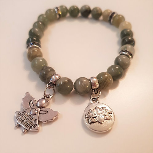 Armband - GREEN JASPIS & Angels watching over me