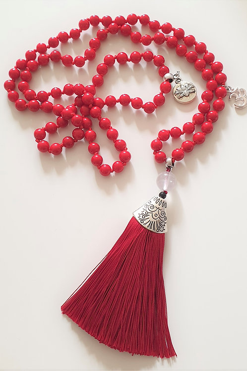 RED JADE Mala med Golden Healer