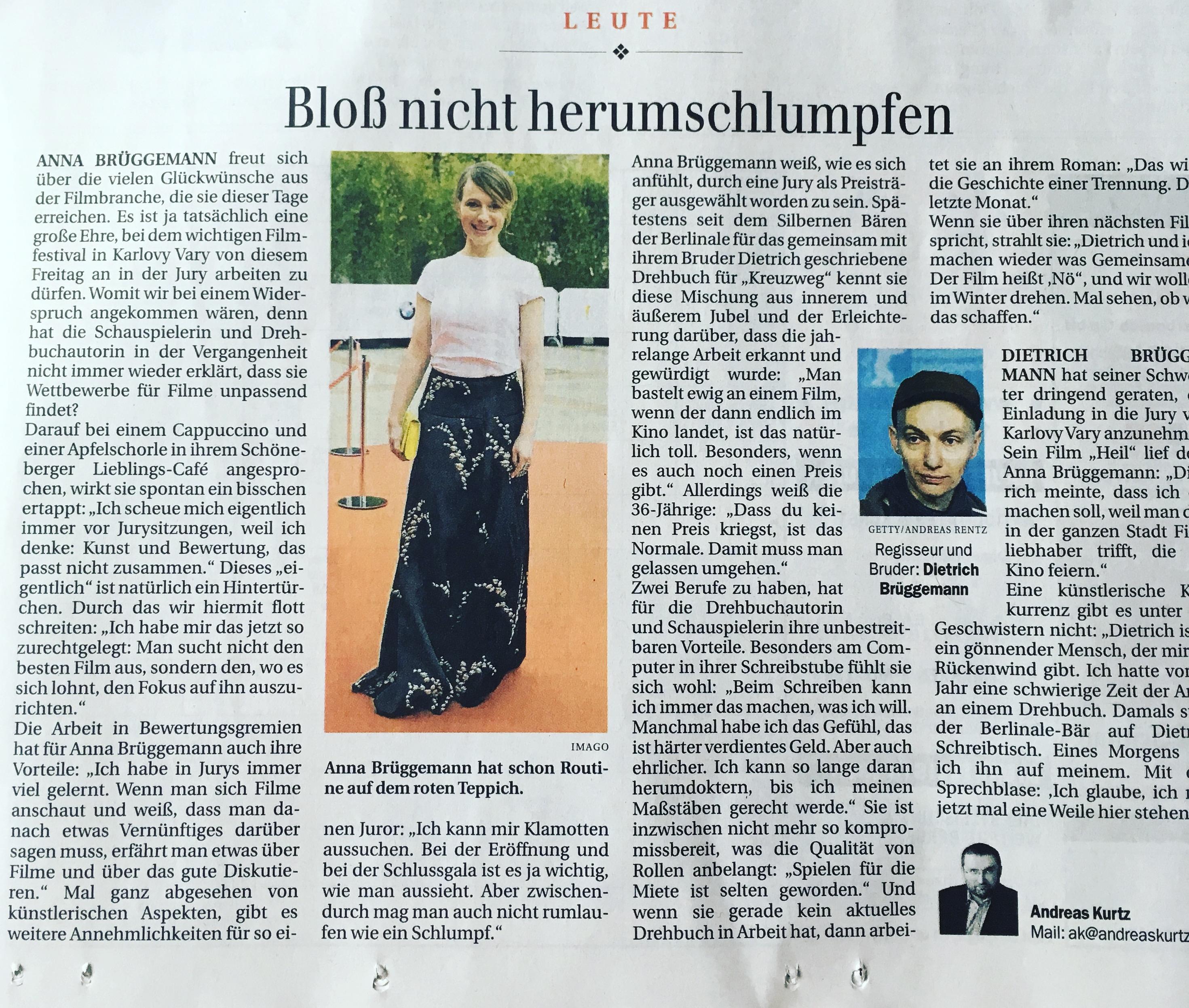Anna Brüggemann @ Berliner Zeitung