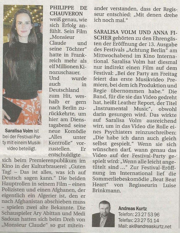 Saralisa Volm @ Berliner Zeitung