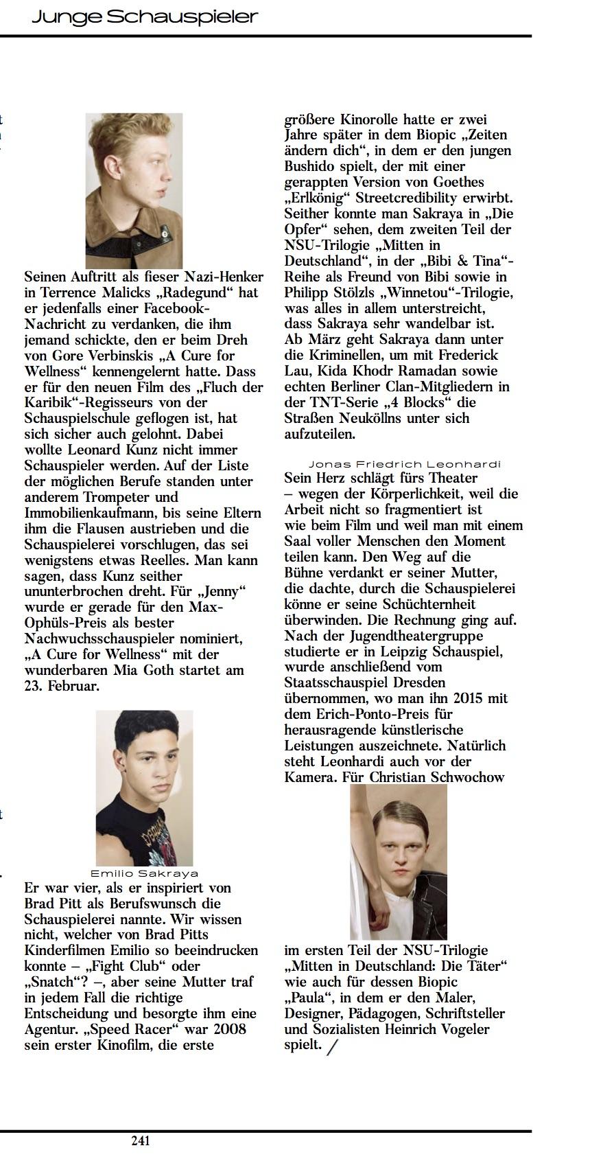 Emilio Sakraya @ Interview Magazin