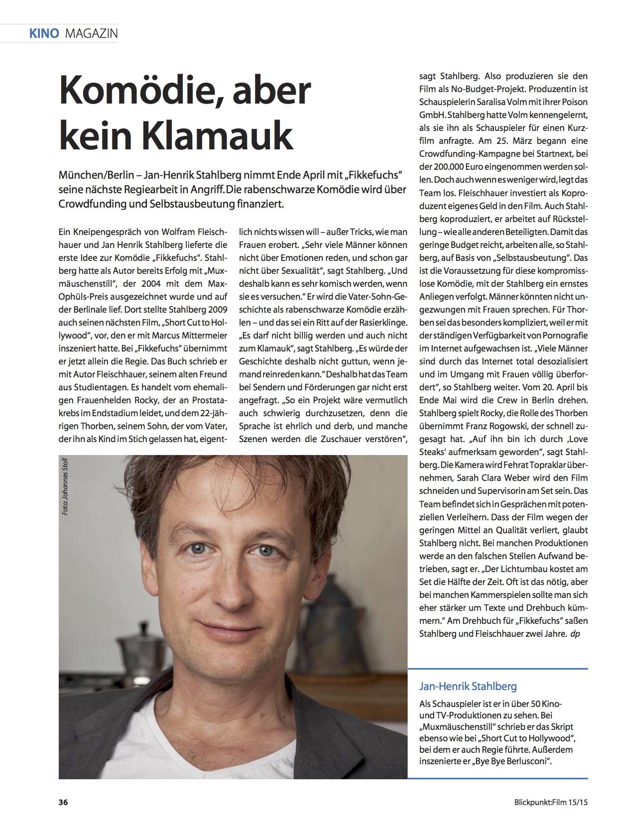 Blickpunkt Film-Jan Henrik Stahlberg