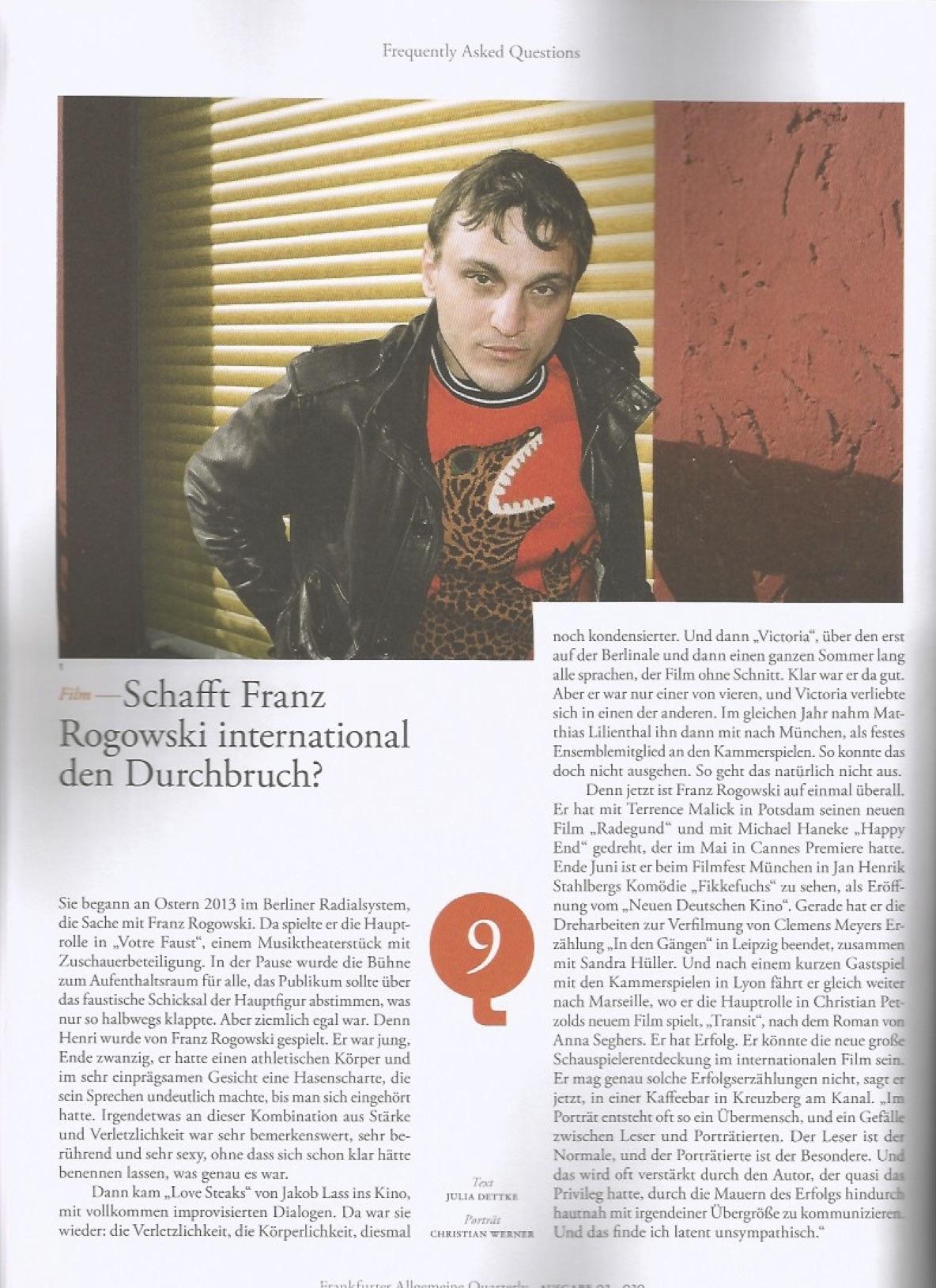 Franz Rogowski @ FAZ Quarterly