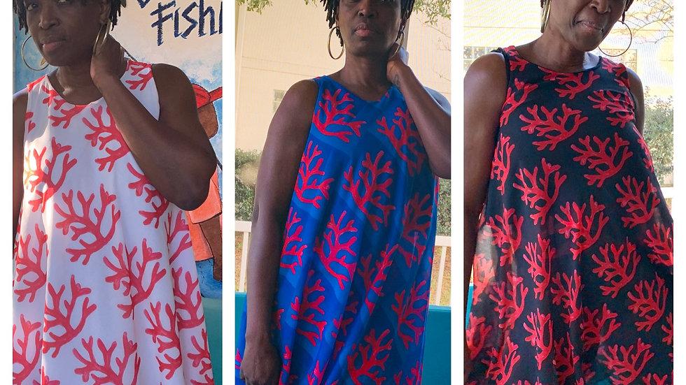 Fire Coral Chiffon Circle Dress