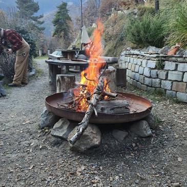 Accueil et barbecue