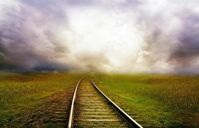 Train track through fields