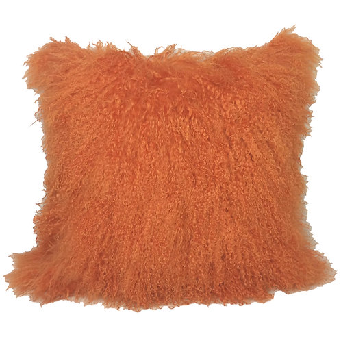 Burnt Orange Tibetan Lamb Pillow