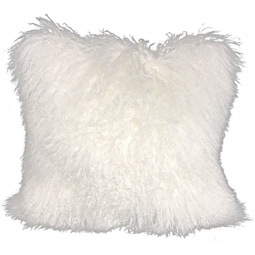 Bright White Tibetan Lamb Pillow