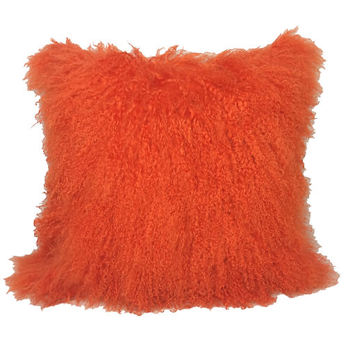 Bright Orange Tibetan Lamb Pillow
