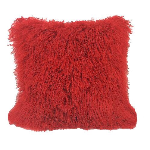 Primary Red Tibetan Lamb Pillow