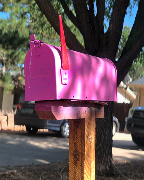 hot pink mailbox with the flag up