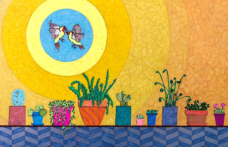 drawing of houseplants plus two western tanagers flying above in a yellow circle