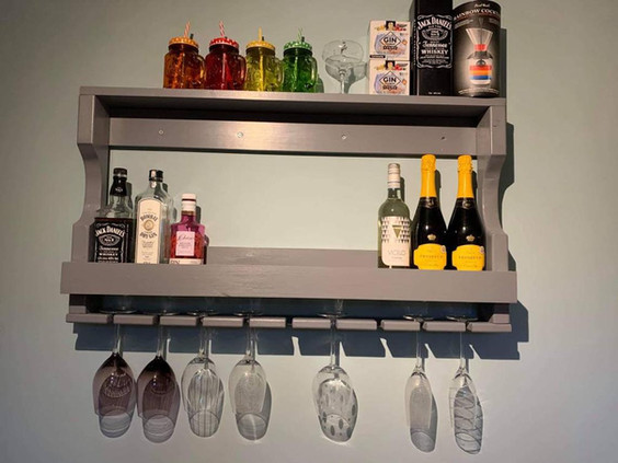 Grey Bespoke Wine Rack and Glass holder