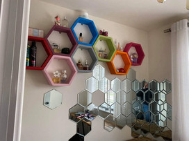 Colourful Honeycomb Shelves