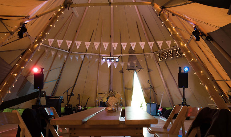 Tipi at Kirkley Hall Wedding Band