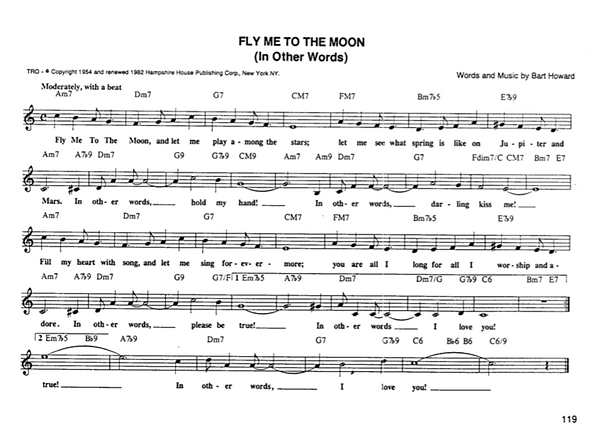 Fly Me To The Moon Lead Sheet A minor.pn