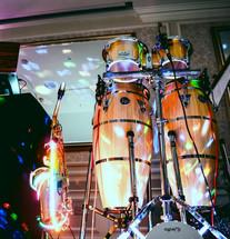 Light Up Sax Player & Bongos