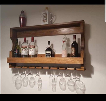 Stained Oak Gin Bar and Glass Holder