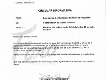 CIRCULAR GTH-004 MODIFICACIÓN HORARIO DE TRABAJO SEDE SANTA ANA