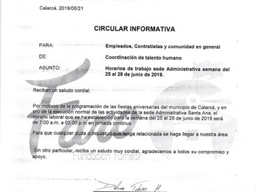 CIRCULAR GTH 002 MODIFICACIÓN TEMPORAL DEL HORARIO SANTA ANA